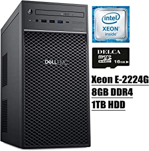 Dell PowerEdge T40 Tower Server 2020 Premium Desktop I Intel Quad-Core Xeon E-2224G 3.5GHz I 8GB DDR4 1TB HDD I DVD USB-C UHD Graphics P630 No Operating System + Delca 16GB Micro SD Card