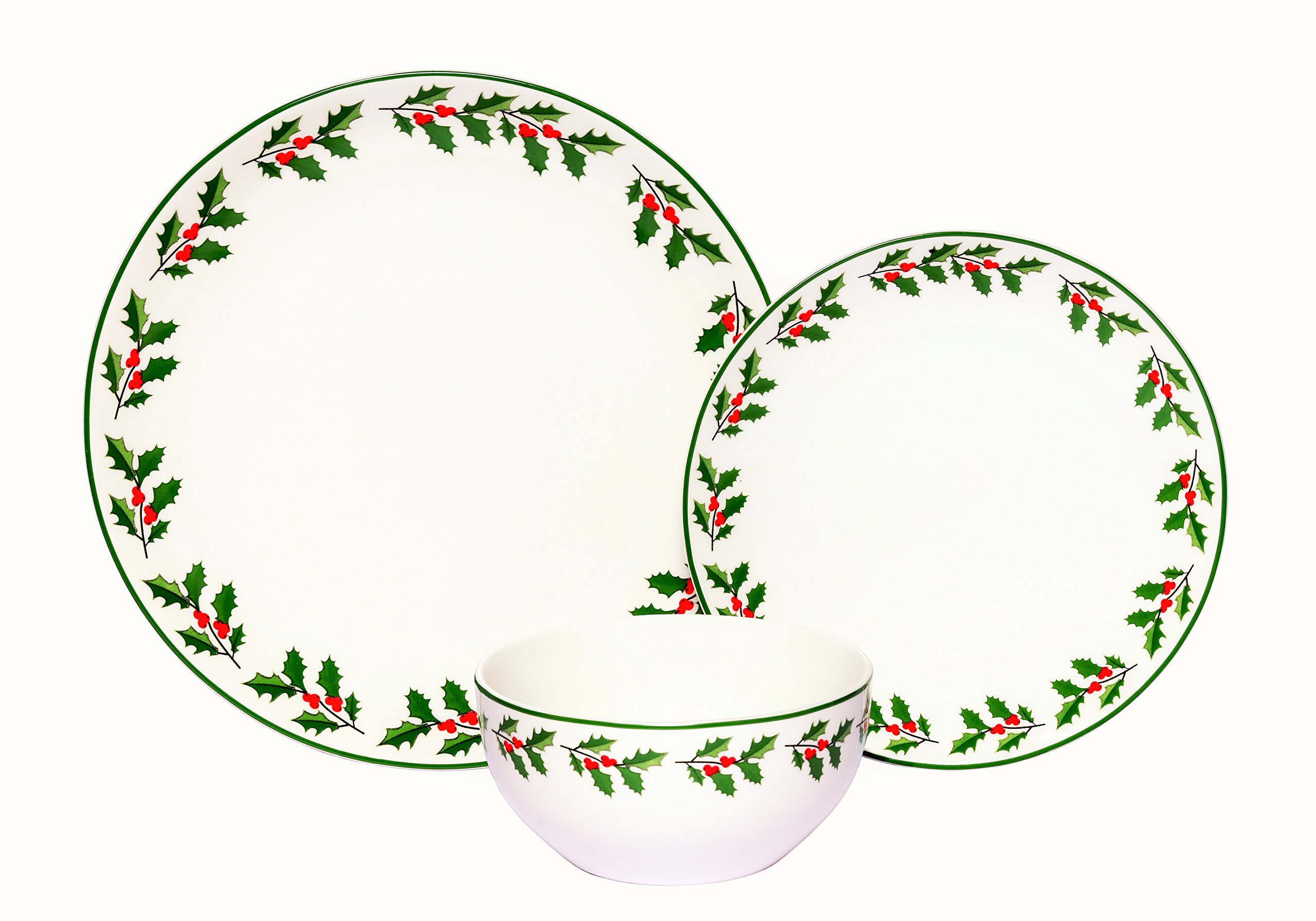 Melange Coupe 36-Piece Porcelain Dinnerware Set (Holly) | Service for 12 | Microwave, Dishwasher & Oven Safe | Dinner Plate, Salad Plate & Soup Bowl (12 Each) by Melange