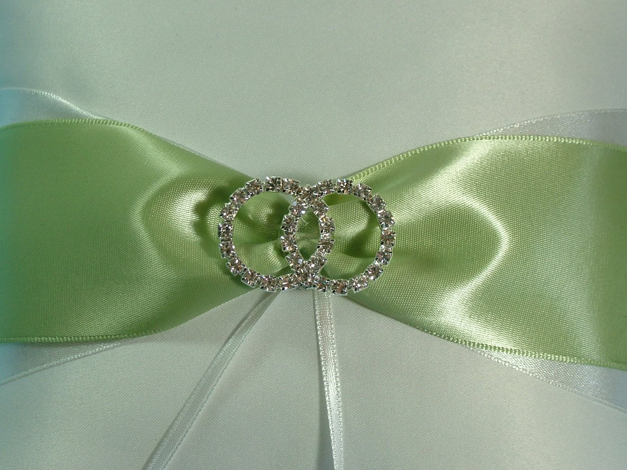 Sage Green Sash with Infinity Ring Bridal Accent on White Satin Ring Bearer Pillow