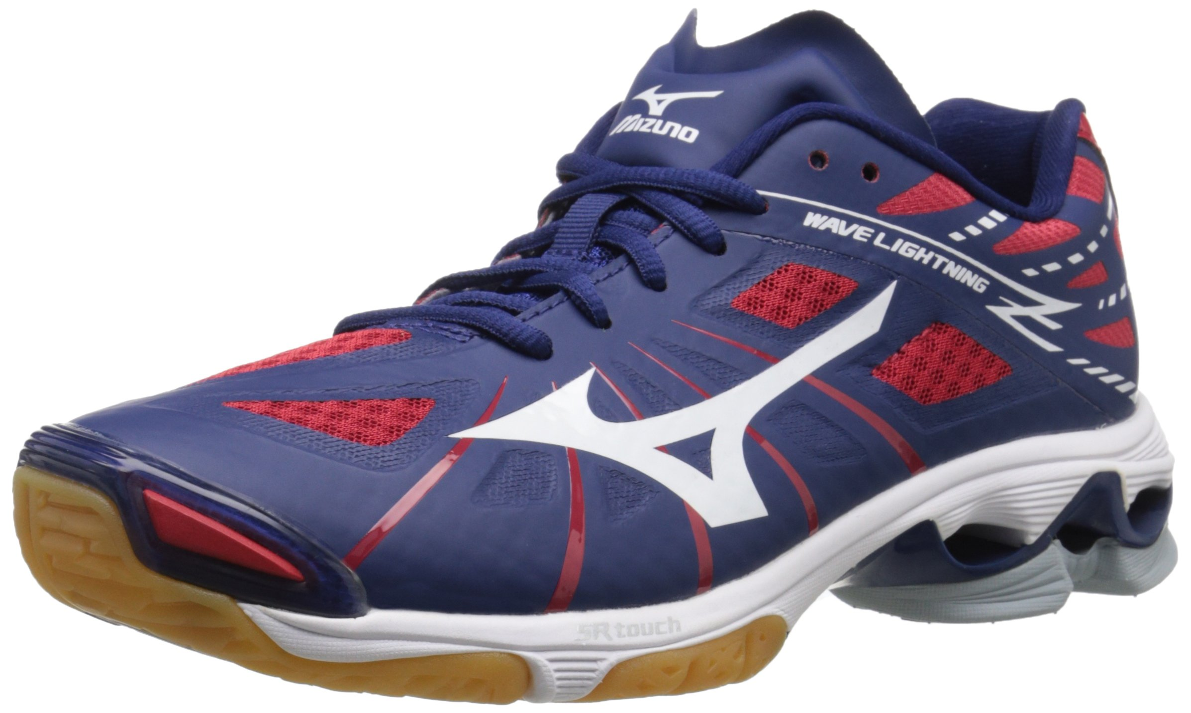 Mizuno Men's Wave Lightning Z NY-RD Volleyball Shoe, Navy/Red, 12.5 D US