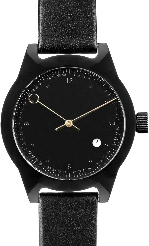 squarestreet sq03-b-09 Unisex Minuteman Acetat Fall Schwarz Leder black watch