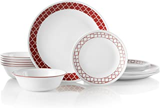 product image for Corelle 18-Piece Service for 6, Chip Resistant, Crimson Trellis Dinnerware Set