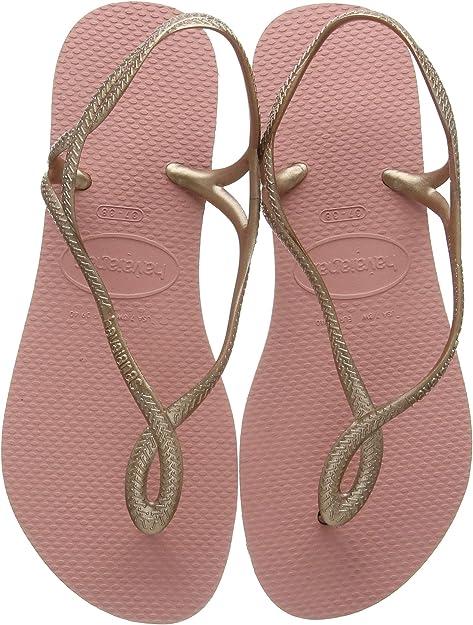 Havaianas Luna Women Rubber Blue Silver Back Strap Sandals UK Size 3-8