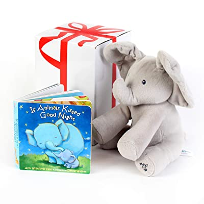 "BABY ANIMATED FLAPPY THE ELEPHANT PLUSH TOY with ""IF ANIMALS KISSED GOOD NIGHT"" Book,Free Gift Box ,For Birthdays 