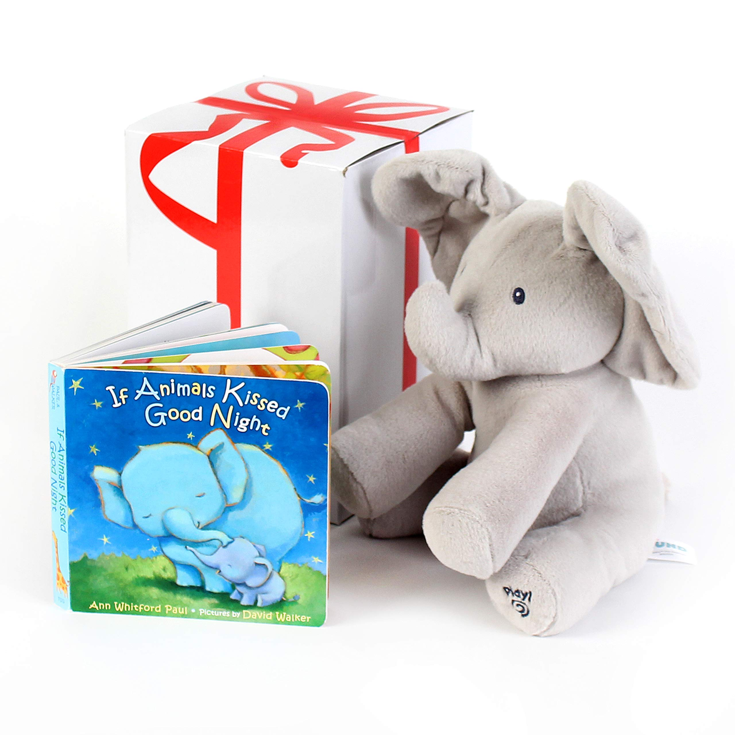 GUND BABY ANIMATED FLAPPY THE ELEPHANT PLUSH TOY with ''IF ANIMALS KISSED GOODNIGHT'' Book, For Birthdays , Holidays And Baby Showers. Great For Babies And Toddler Toys. Gift set bundle by Rimon by GUND