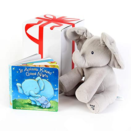 "2e0d0b3f7a0 GUND BABY ANIMATED FLAPPY THE ELEPHANT PLUSH TOY with ""IF ANIMALS KISSED  GOODNIGHT"" Book"