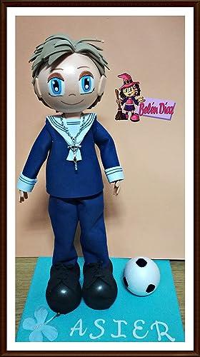 eee3b88a2a2 Fofucha mi primera comunión niño marinero 35 cms. con balón de fútbol
