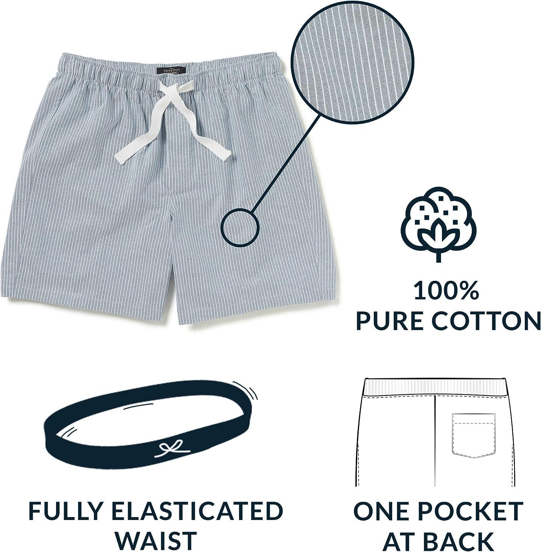pijama Savile Row suave 100/% algod/ón ropa de dormir Pantalones cortos para hombre