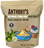 Anthony's Erythritol and Monk Fruit Sweetener Golden, 1 lb, Granulated, 1 to 1 Brown Sugar Substitute, Non GMO, Keto…