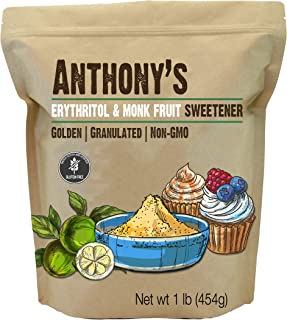product image for Anthony's Erythritol and Monk Fruit Sweetener Golden, 1 lb, Granulated, 1 to 1 Brown Sugar Substitute, Non GMO, Keto Friendly