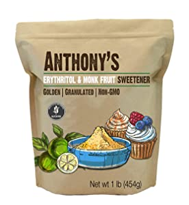 Anthony's Erythritol and Monk Fruit Sweetener Golden, 1 lb, Granulated, 1 to 1 Brown Sugar Substitute, Non GMO, Keto Friendly