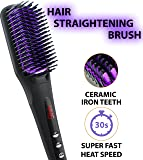 Hair Straightening Brush - Ceramic Heating Hair Straightening Ionic Brush - Frizz-Free (320-450℉/160-230℃) Hair Care for Silky Straight Hair Styling, LCD Display, Adjustable Temperature, Anti Scald