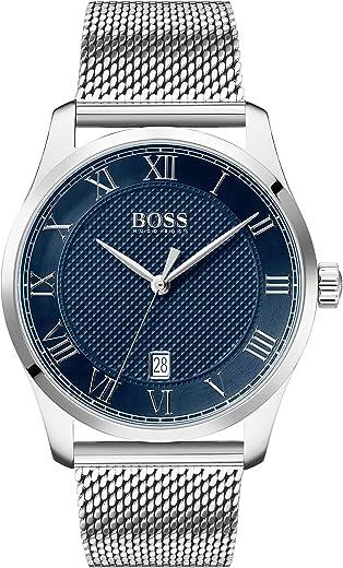 ساعة ستانلس ستيل سوداء للرجال بمينا ازرق من هوغو بوس - طراز 1513737