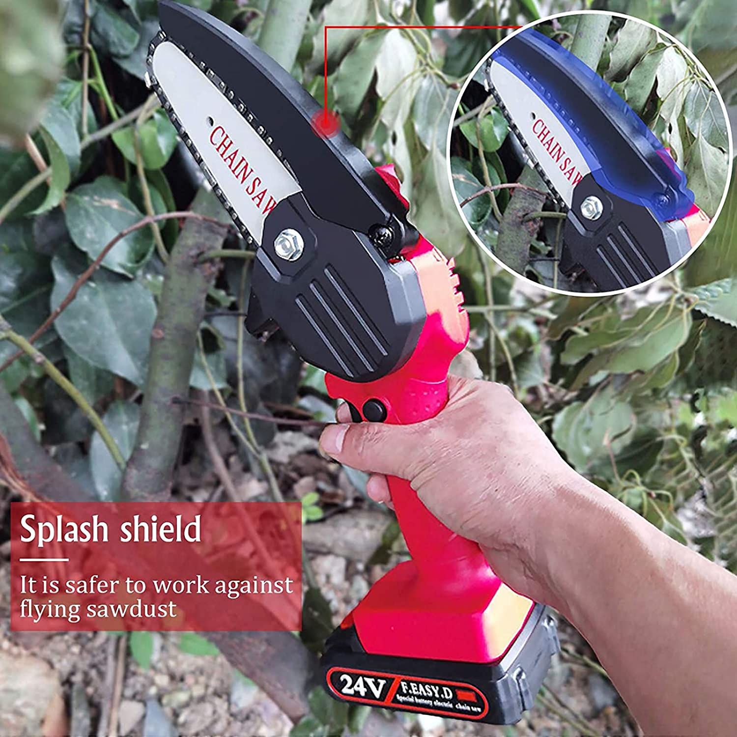 Tree Pruning and Garden XMSTORE Mini Chainsaw Cordless 4-Inch Electric Portable Chainsaw Handheld for Wood Cutting