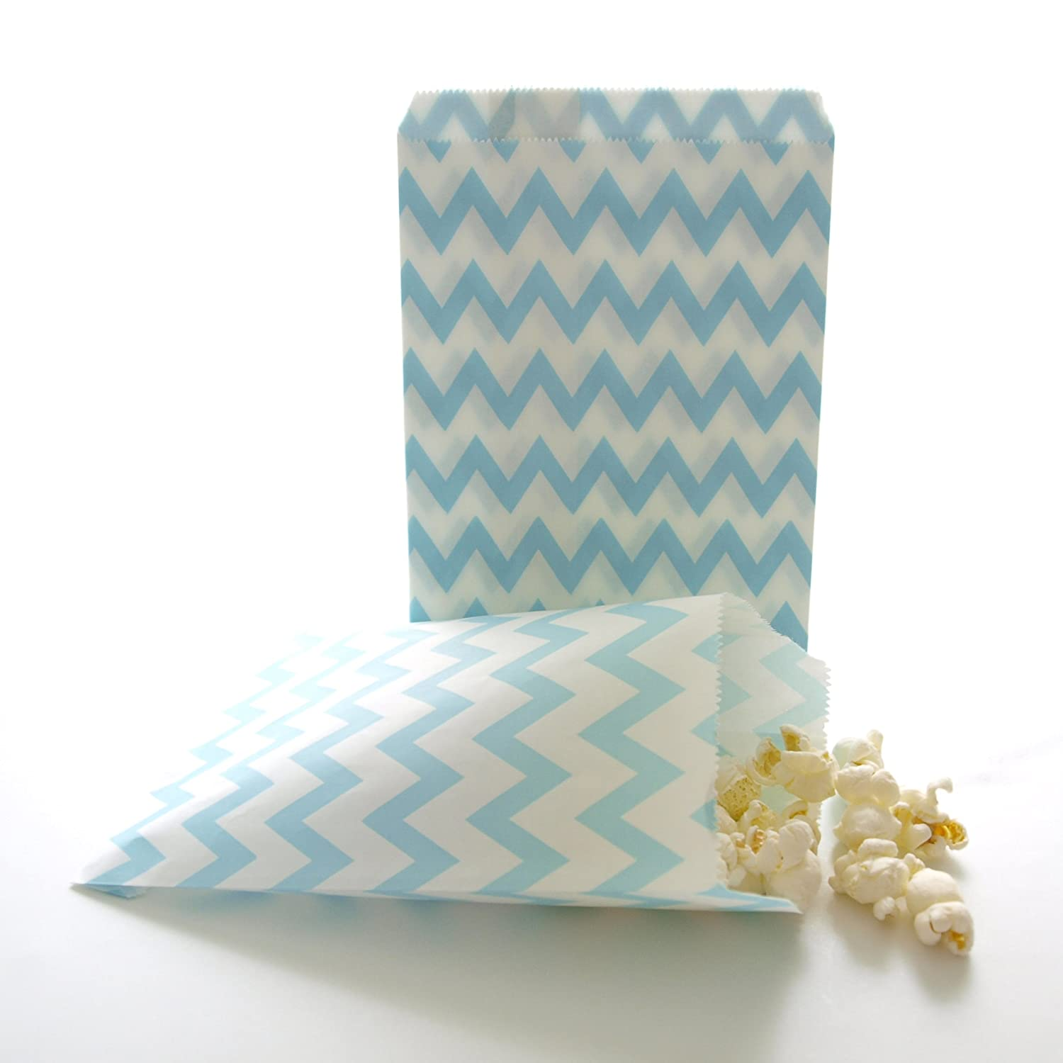 Amazon.com: Chevron Favor Bags, Blue Goody Bags, Paper Gift Bag ...