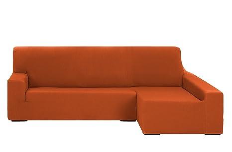 Martina Home Tunez Funda Elástica para Sofá Chaise Longue, Brazo Derecho, color Naranja, tamaño desde 240 a 280 cm
