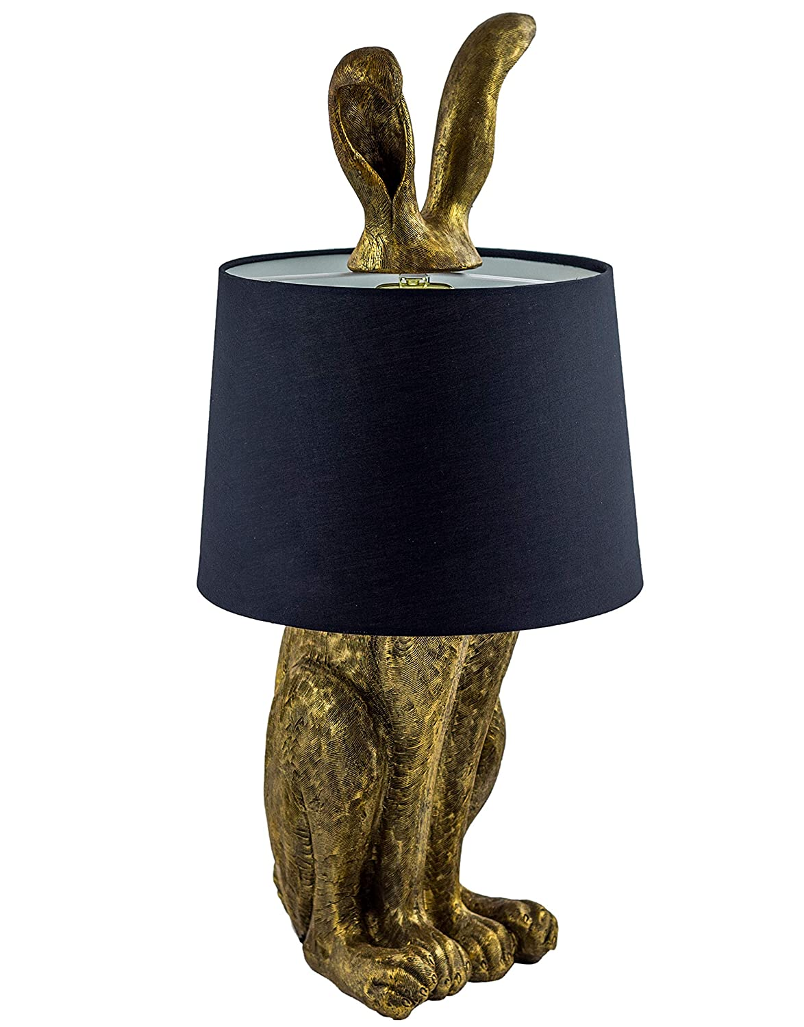 Large 77cm Antique Gold Rabbit Bunny Ears Table Lamp Black