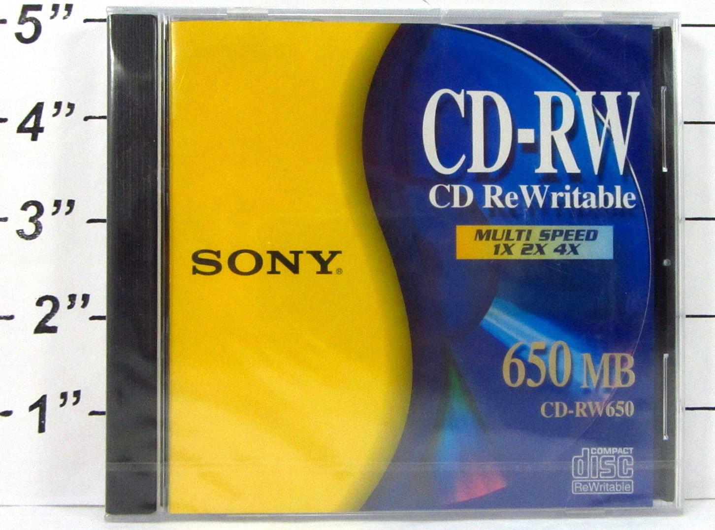 Sony CD-RW CD ReWritable Multi Speed 1X 2X 4X 650 MB Sony Corporation 5269235