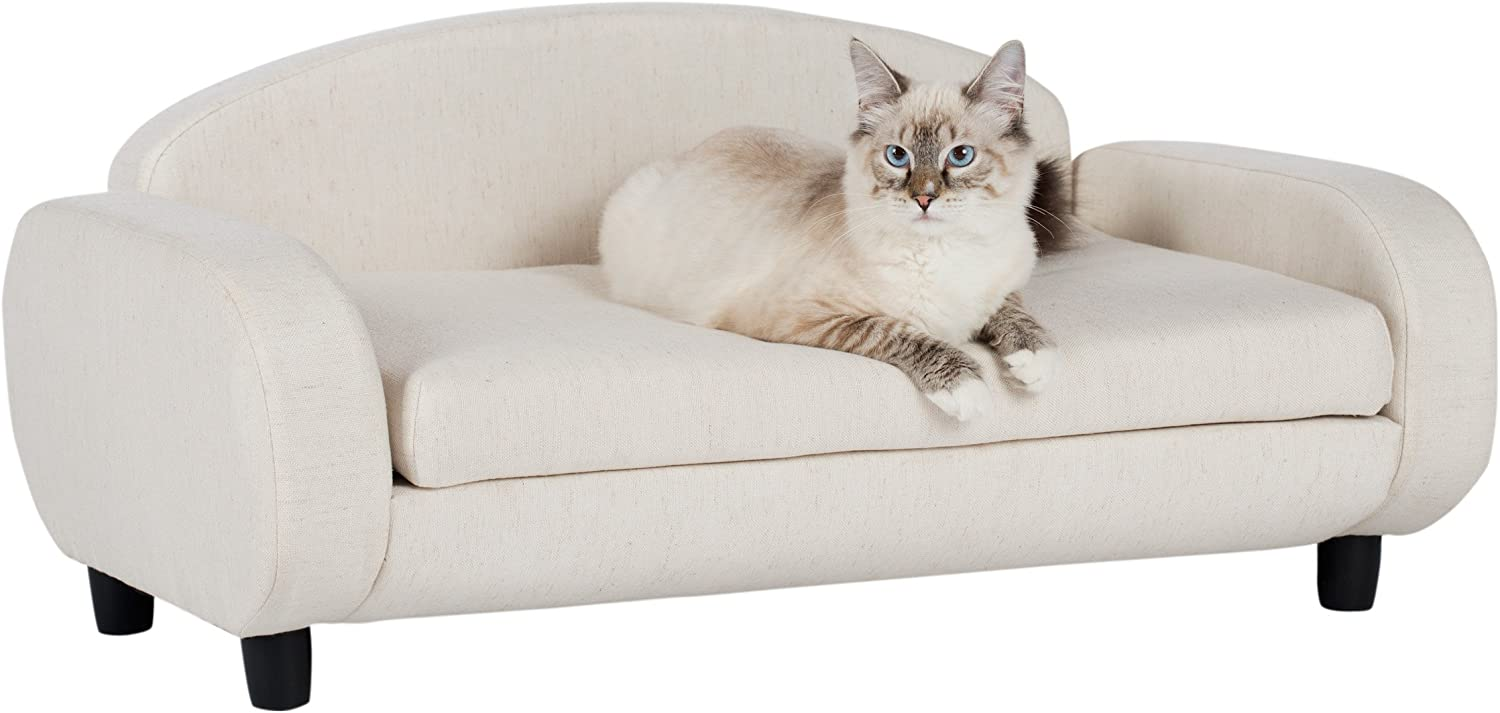 Paws & Purrs Pet Upholstered Sofa Bed, Oatmeal : Pet Supplies