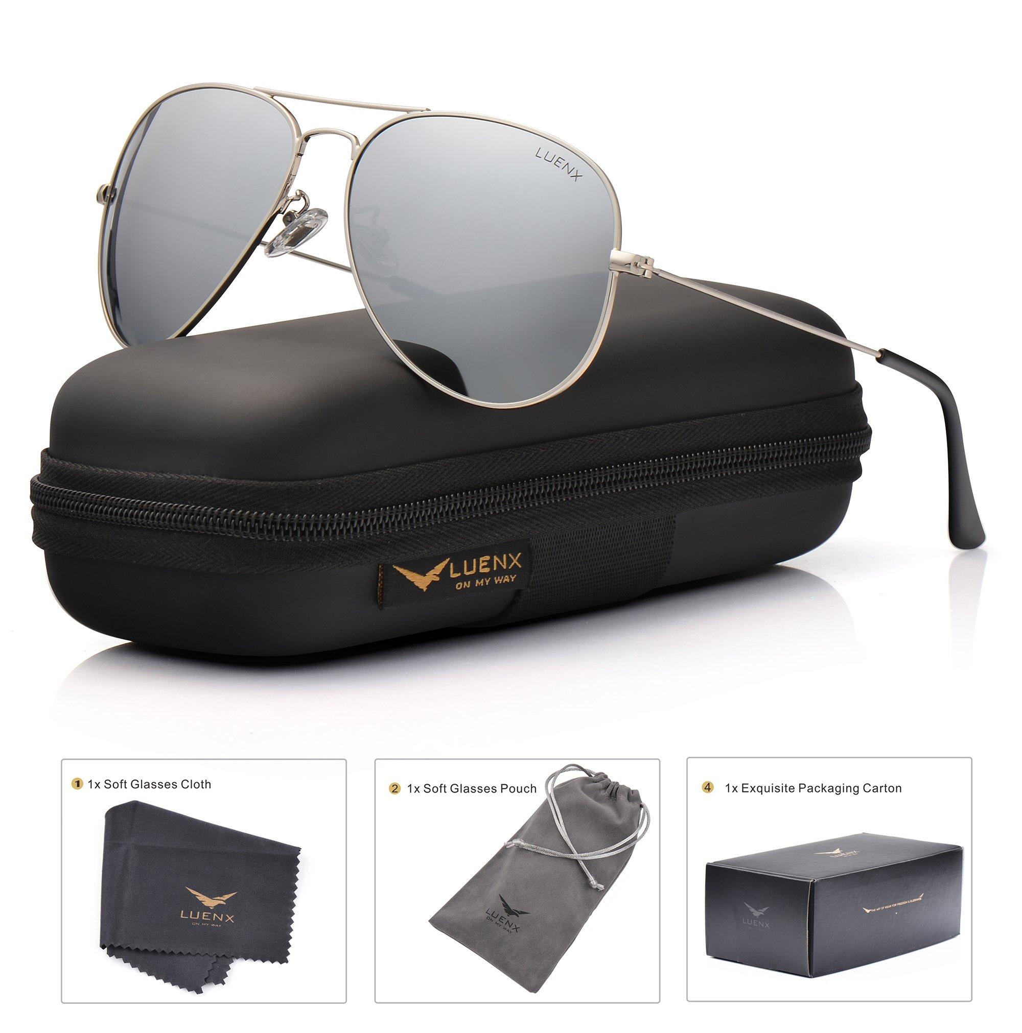 LUENX Mens Womens Aviator Sunglasses Polarized Silver Mirrored Lens Metal Frame with case UV 400 Protection Driving 60mm