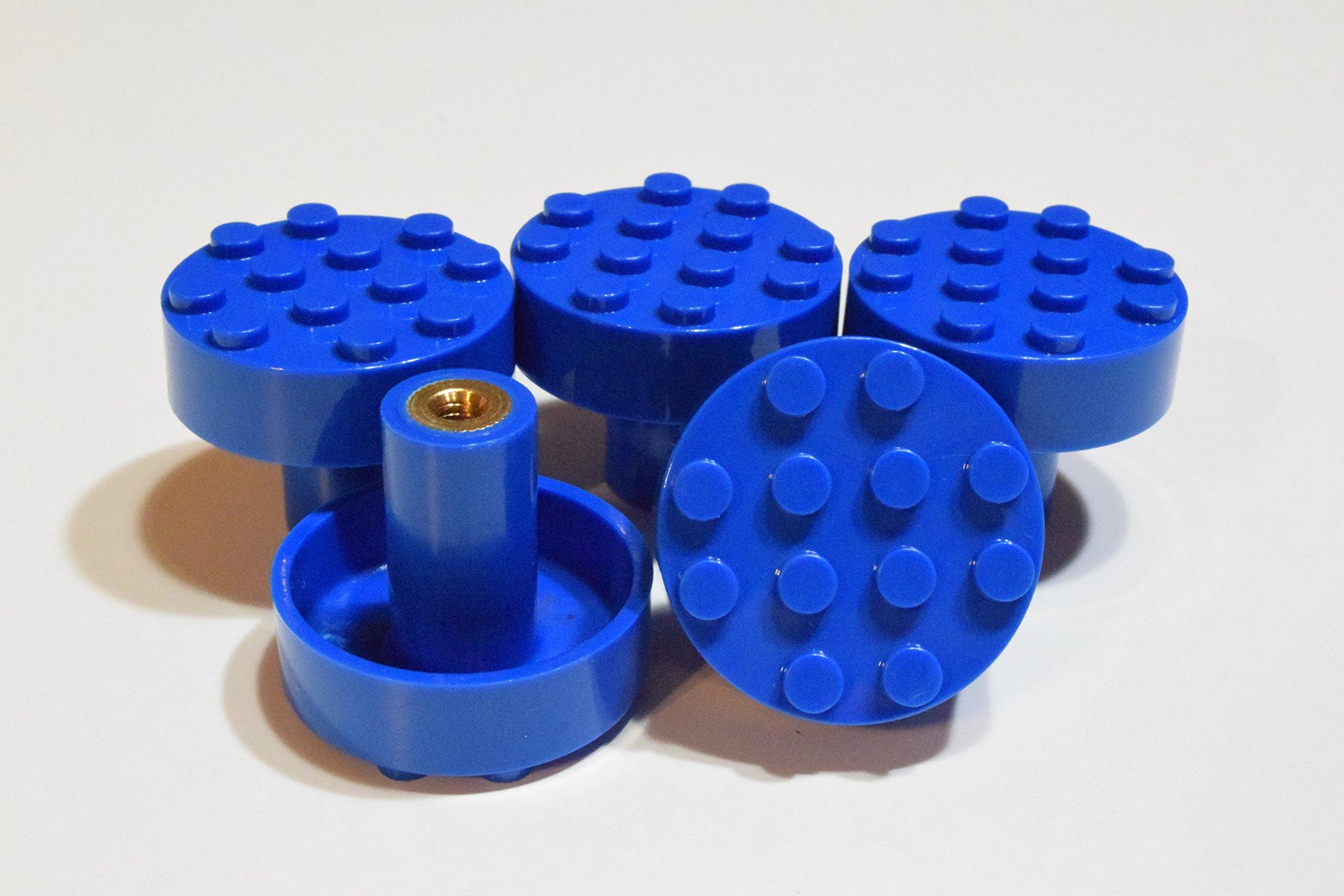 Set of 5 Build-On Brick Knobs (Blue)