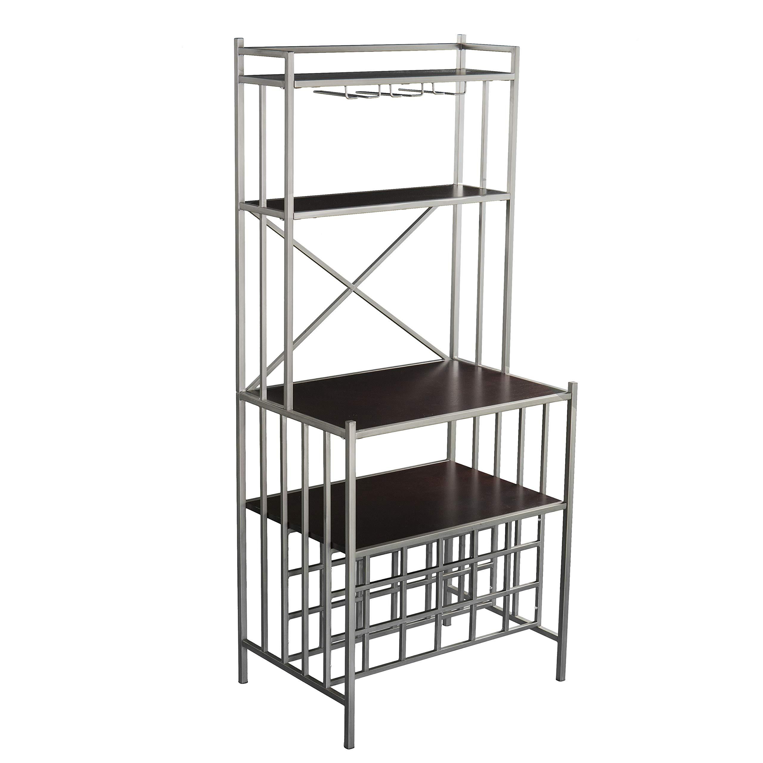 Furniture HotSpot Metal Bakers Rack - Industrial Backers Stand - Metal Frame w/Shelves (Silver Frame w/Wood Shelves)
