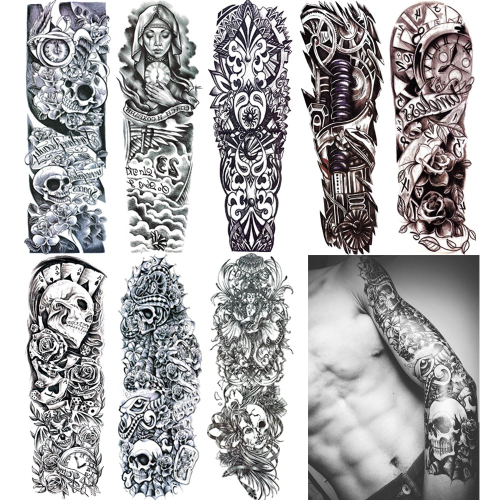 c9e424904 18.9x6.7 8 Sheets Extra Large Temporary Fake Tattoos Set for Men and Women, Full  Arm Tattoo Sticker Skull Flower Paper Decal Fake Tattoos Sleeve DIY Black  ...