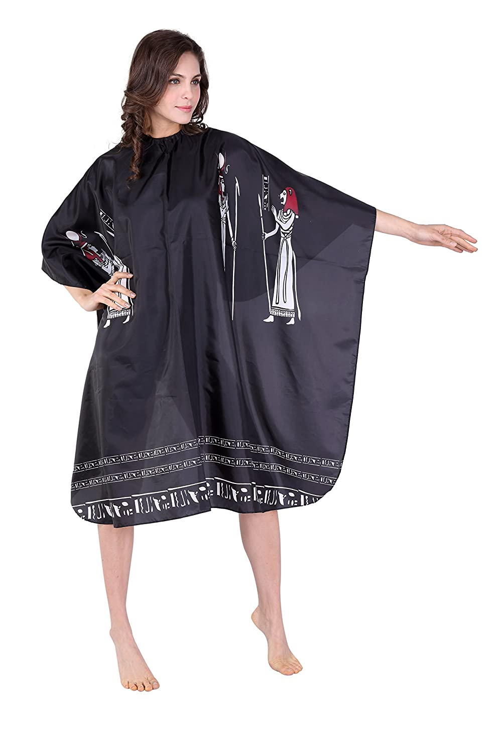 XMW Professional Water Repellent and Wipe Clean Egypt-Pattern Hair Salon Cape with Snaps, Black