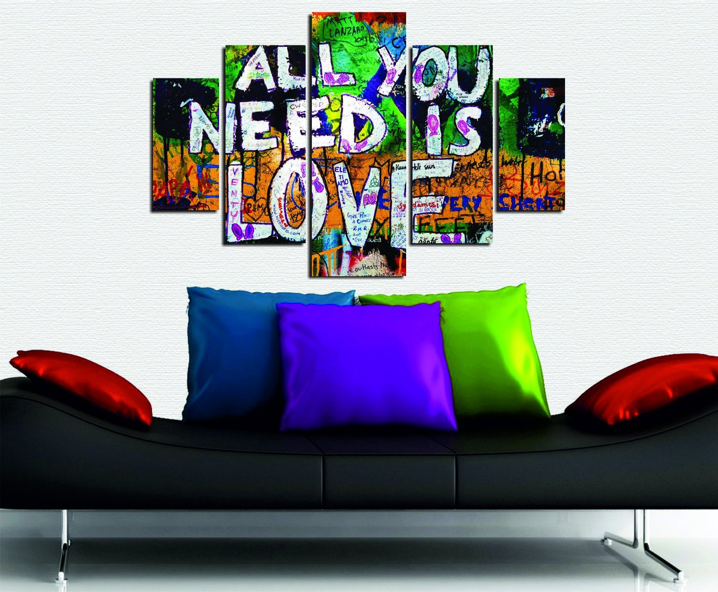 LaModaHome Graffiti MDF Wall Art - All You Need is Love, Colorful, Writing - Ready to Hang Painting, Total Size (36'' x 22'') - 5 Panels - Wall Hanging for Living Room, Bedroom, Dorm