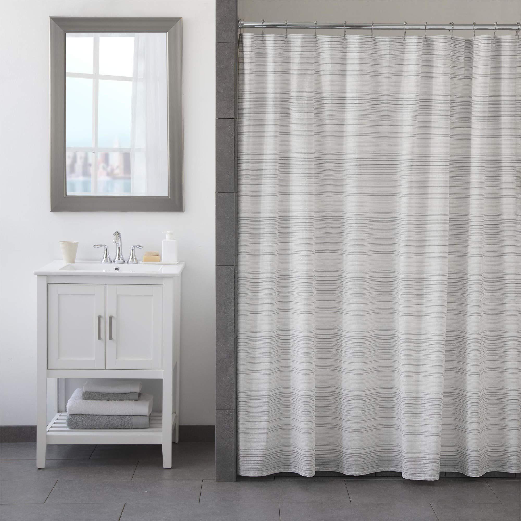 FlatIron Seersucker Shower Curtain, 72 x 72, White/Taupe/Grey
