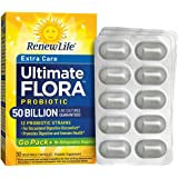 Renew Life - Ultimate Flora Probiotic Extra Care - 50 billion - daily digestive and immune health supplement - 30 vegetable capsules - Go Pack
