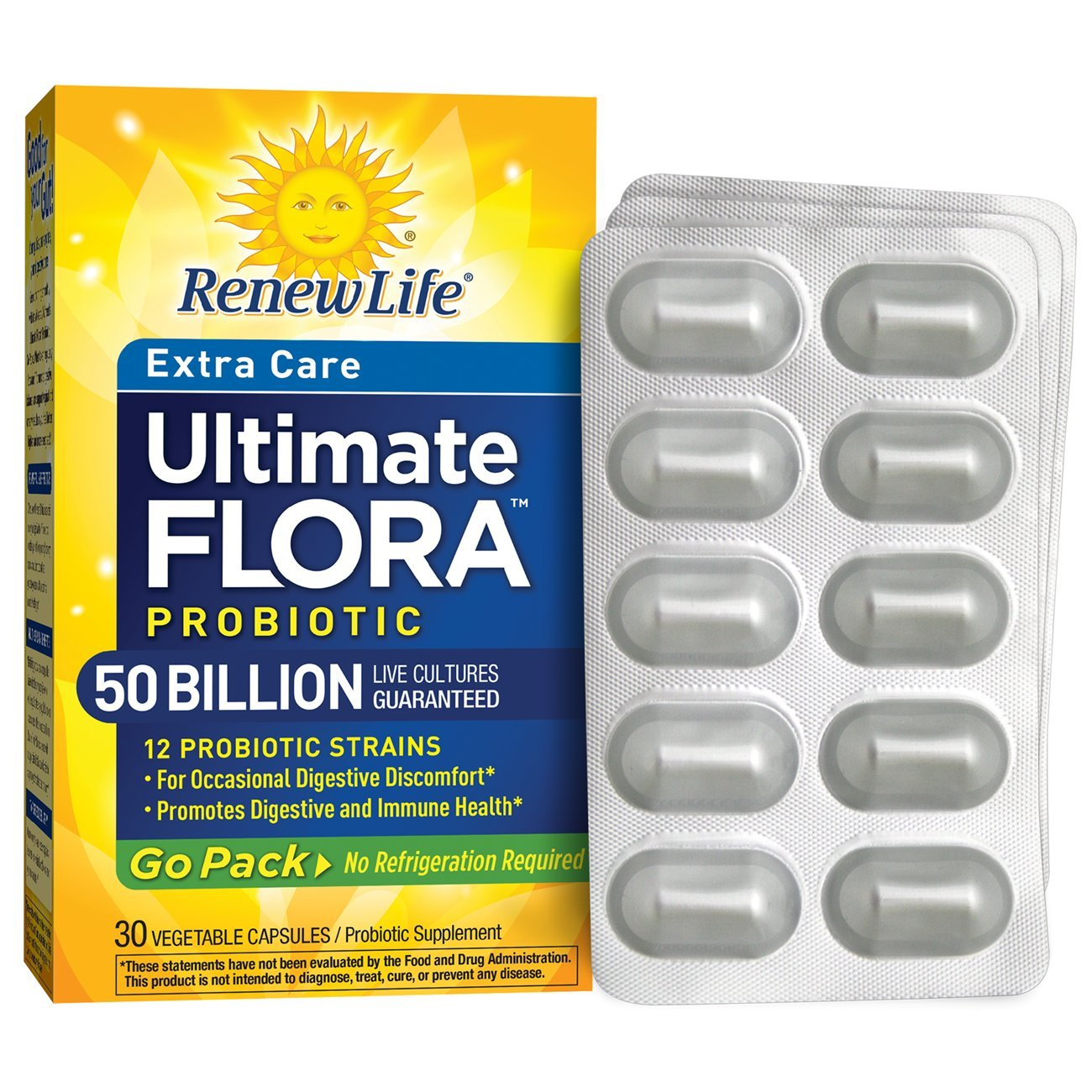 Renew Life - Ultimate Flora Probiotic Extra Care - 50 billion - 30 vegetable capsules - Go Pack