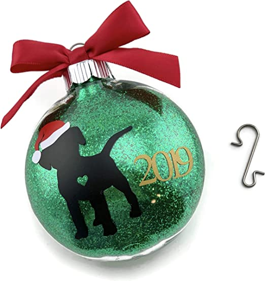 Terrier Dog Christmas Ornament Gift for Dog Lover Dog with bone bowl stocking