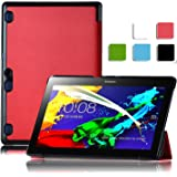 ELTD Lenovo Tab3 10 Plus custodia cover, [Slim Series] Custodia Cover in pelle PU per Lenovo Tab3 10 Plus , Rosso
