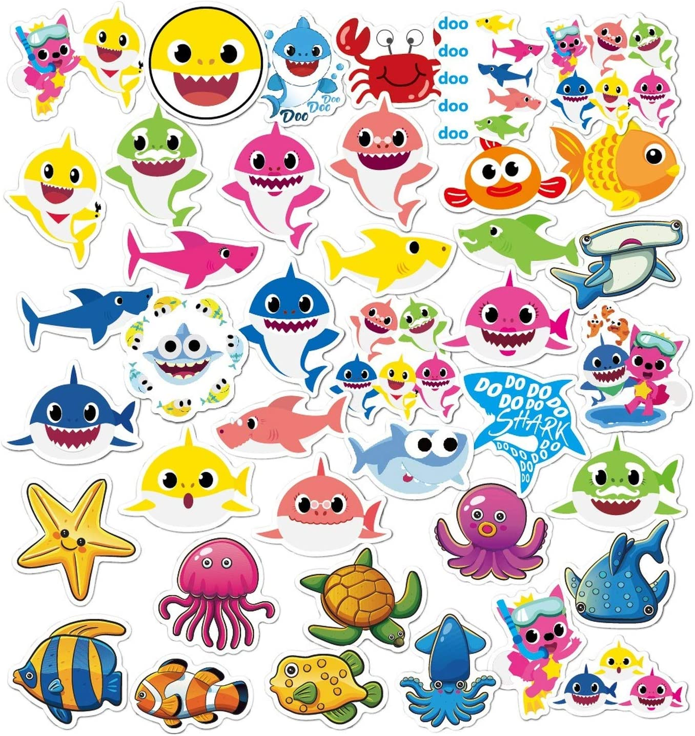 Cute Baby Shark Stickers 40pcs Small Baby Shark Waterproof Vinyl Stickers Kids Toddler Baby Shark Themed Party Favor for Hydro Flask Water Bottles Laptop Bicycle Car Skateboard Luggage Graffiti Decals
