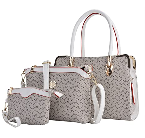 a336e1519b Buy Deluxe Women 3 Piece Tote Bag Pu Leather Handbag Purse Bags Set (Light  Gray) Online at Low Prices in India - Amazon.in