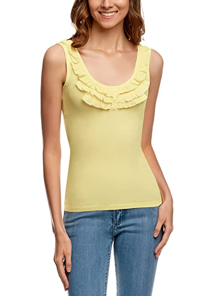oodji Ultra Mujer Camiseta de Tirantes con Volantes: Amazon.es ...