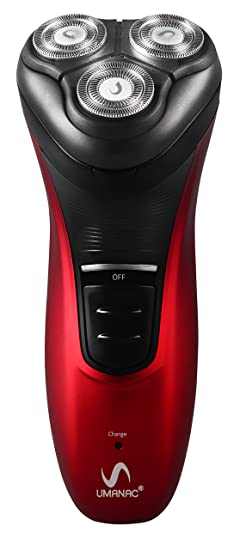 Umanac SH9000 360° Rotation Triple Head Cordless Shaver (Red) Electric Shavers at amazon