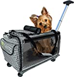 Pet Carrier with Wheels Soft Sided Portable Bag, Click-Out Handle, Breathable Rolling Pet Carrier, Removable Wheels Pet Travel Carrier for Dogs, Cats up to 22 lbs