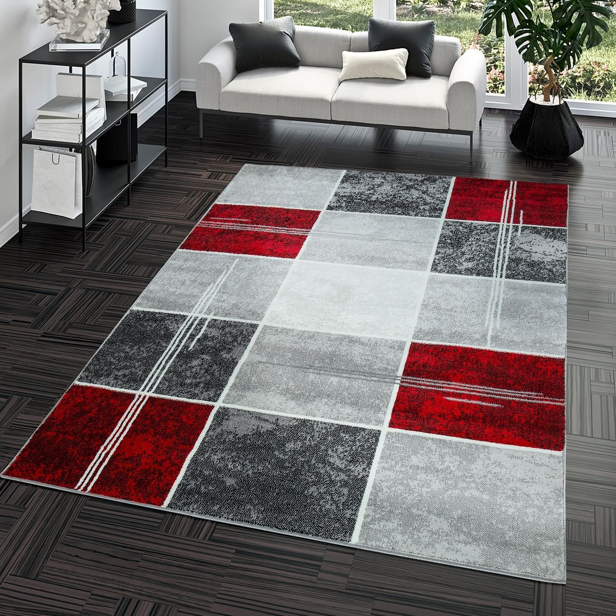 Rug Reasonable Check Design Modern Living Room Rug Grey Red Top Price, Size:60x100 cm T&T Design