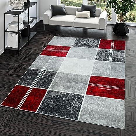 Tapis Abordable Carreau Design Moderne Tapis pour Salon Gris Rouge Super  Prix, Dimension:60x100 cm