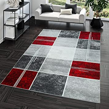 Tapis Abordable Carreau Design Moderne Tapis pour Salon Gris Rouge ...