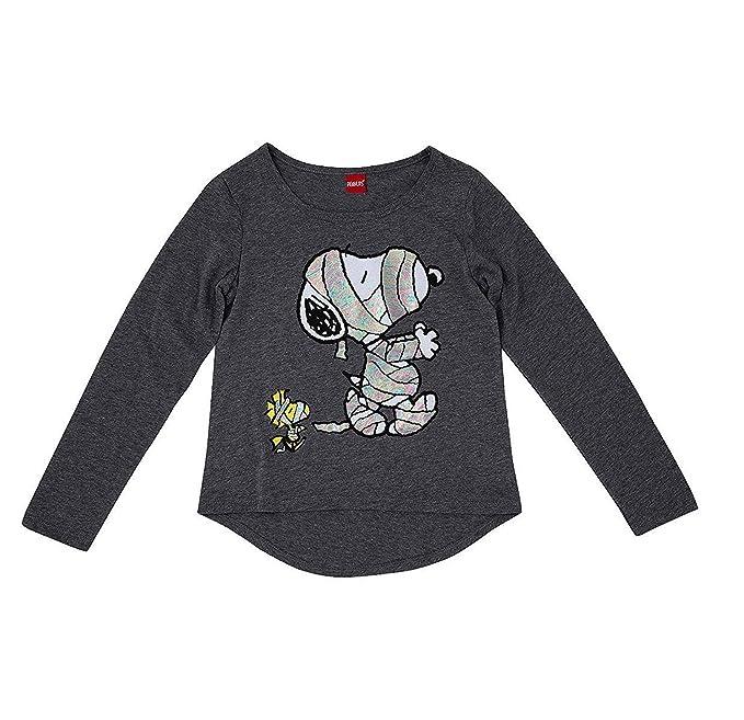 6e7bc930 Amazon.com: Girls' Gray Peanuts Snoopy & Woodstock Mummy Halloween T ...