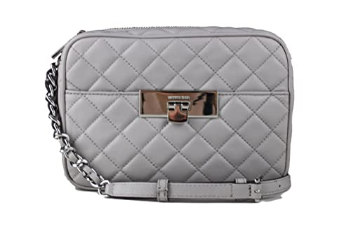 57742759692d Michael Kors Susannah Mid Messenger Quilted Leather Crossbody Pearl Grey