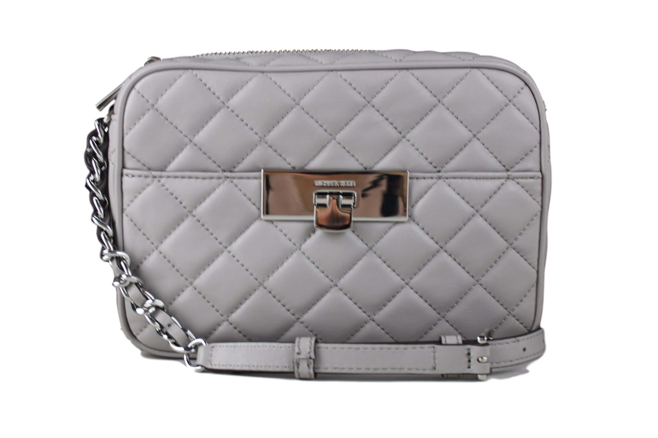 Michael Kors Susannah Mid Messenger Quilted Leather Crossbody Pearl Grey