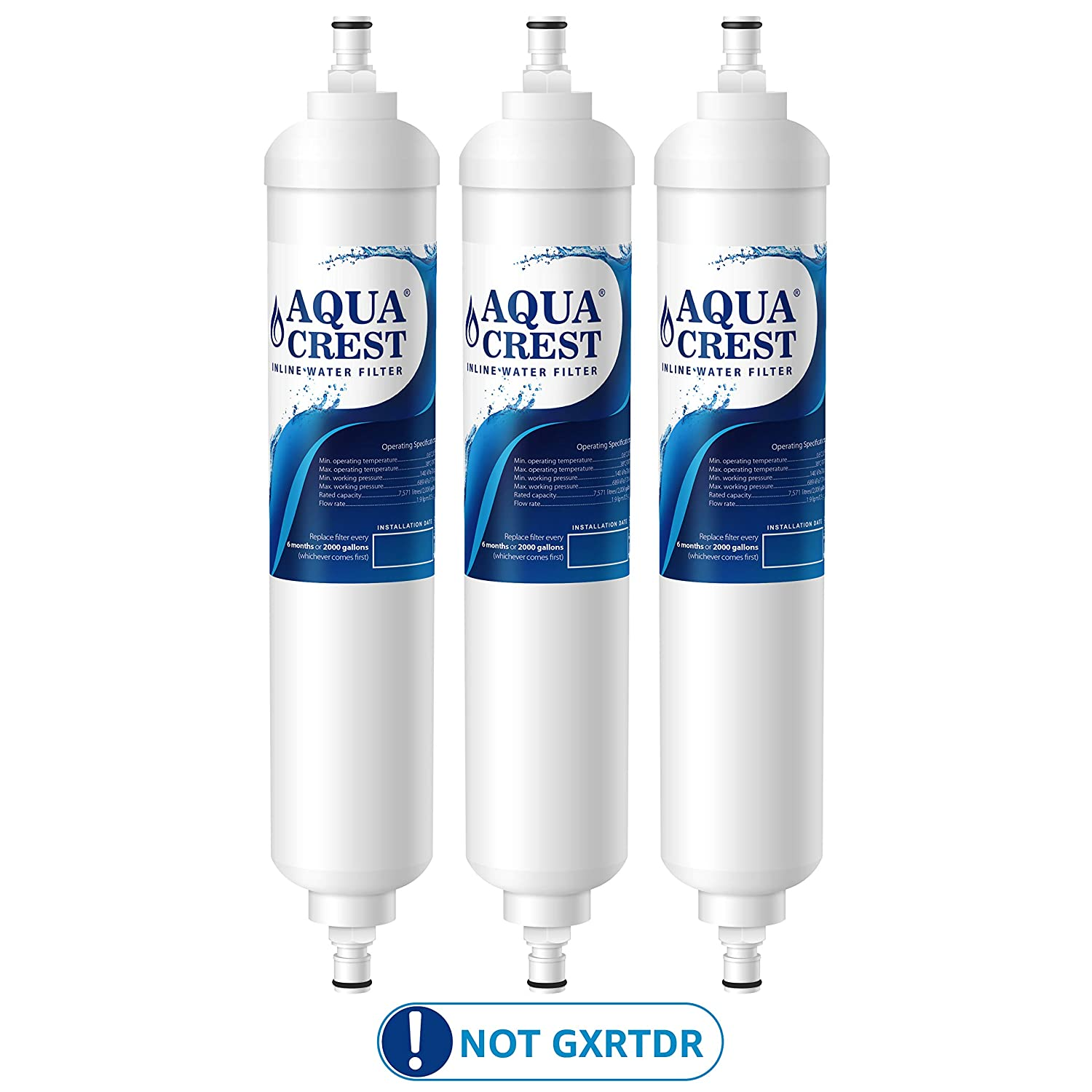 AQUA CREST GXRTQR Inline Water Filter, Carbon Block Media Ensures 99% Chlorine Reduction, Compatible with GE GXRTQR, GXRTQ System, Also Removes Heavy Metals and More (Pack of 3)