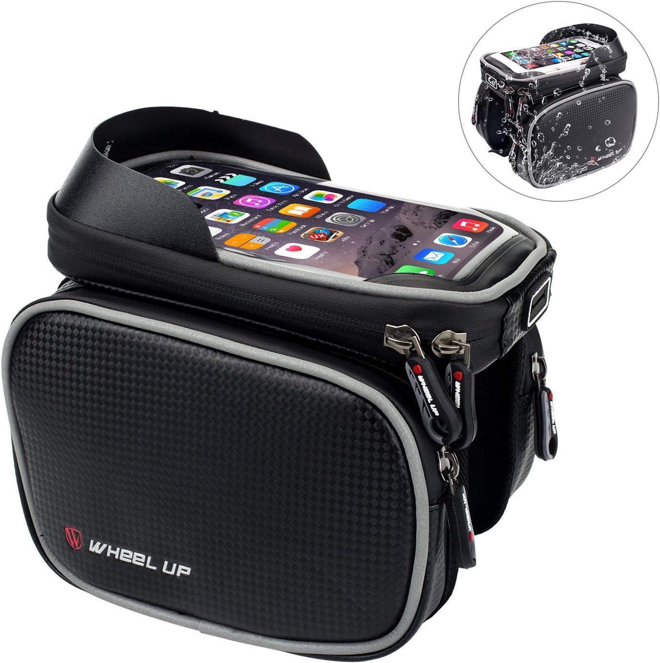 Fahrradtasche Rahmentaschen von EKOOS Wasserdichte Fahrradtasche mit TPU Sensible Touchscreen Frarradschnalletasche mit zwei F/äche f/ür iPhone Samsung bis zu 6 Zoll