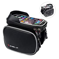 Bike Frame Bag, EKOOS Waterproof Cycling Frame Bag Head Tube Bag with TPU Sensitive Touchscreen Front Top Tube Frame Pannier Double Bag Pouch Holder Crossbar Bag for iPhone 6s Plus / 6 Plus / 7 Plus / Samsung Galaxy S7 / S7 Edge and Other up to 6.2 Inch Smartphones