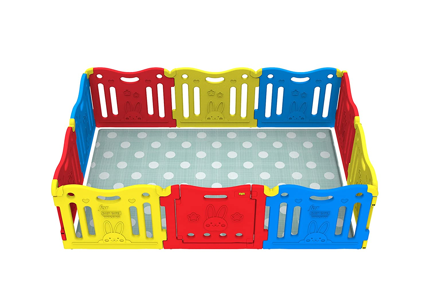 Vivid Yellow, Red, Blue Baby Care FunZone Playpen
