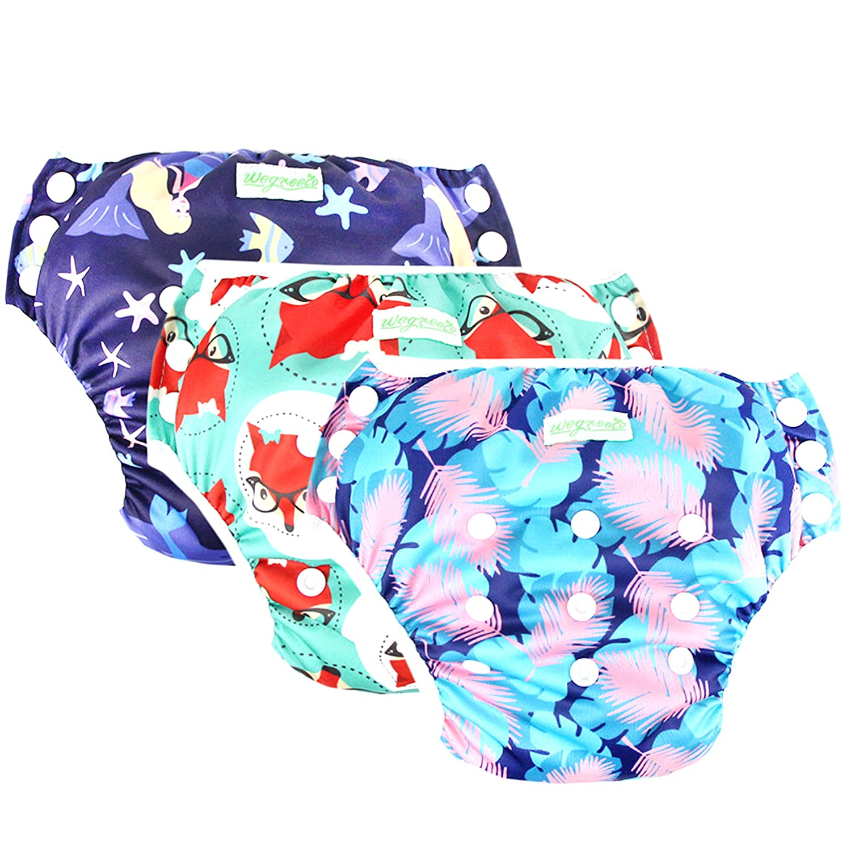 abc2595edb Amazon.com : Wegreeco Baby & Toddler Snap One Size Reusable Baby Swim Diaper  (Mermaid, Fox, Feather, Small, 3 Pack) : Baby